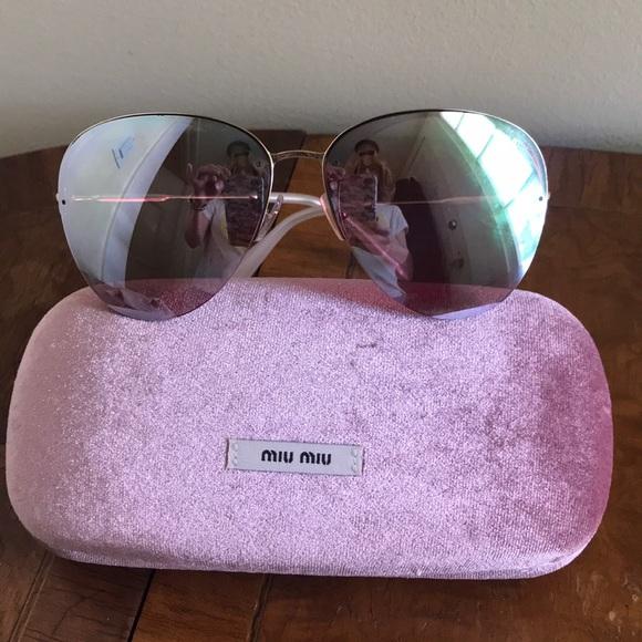 5d16fdd151ad Miu Miu Accessories   Pink Mirror Aviator Sunglasses   Poshmark